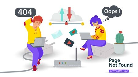 Banner, Oops, 404 error, page not found, Internet connection problems, guy and girl with laptops sitting on cable, for websites and mobile apps, Flat vector illustration