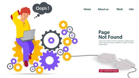 Banner, Oops, 404 error, page not found, Internet connection problems, guy with laptop sitting on gears, for websites and mobile apps, Flat vector illustration