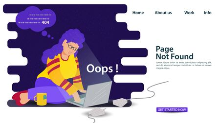 Banner, Oops, 404 error page not found, Internet connection problems, Girl on her knees sitting in front of an enabled laptop for websites and mobile apps, Flat vector illustration Ilustrace