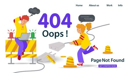 Banner, Oops, 404 error, page not found Internet connection problems, Girl holding cable guy sitting with laptop, for websites and mobile apps, Flat vector illustration