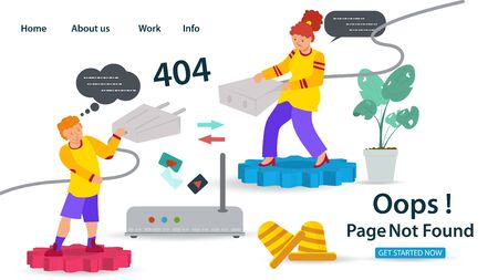 Banner, Oops, 404 error, page not found Internet connection problems, Guy and girl pulling cable to connect to the network, for websites and mobile apps, Flat vector illustration Ilustrace