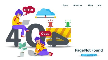 Banner, Oops 404 error page not found, Internet connection problems, Two girls sitting with laptops next to error numbers, for websites and mobile apps, Flat vector illustration