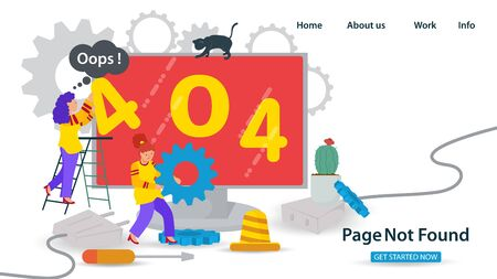 Banner, Oops, 404 error, page not found, Internet connection problems, Two girls repairing the Internet on a monitor, for websites and mobile apps, Flat vector illustration,
