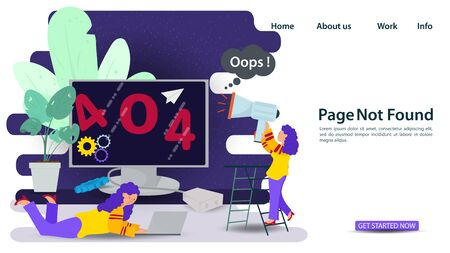 Banner, Oops, 404 error, page not found Internet connection problems, Girl with a loudspeaker and laptop in front of the floor monitor, for websites and mobile apps