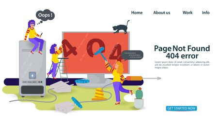 Banner, Oops 404 error, page not found problems, Internet connection, Little people repairing computer paint numbers, for websites and mobile apps, Flat vector illustration
