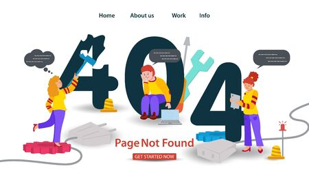 Banner Oops, 404 error, page not found, Internet connection problems, Girl paints over error other people are waiting, for websites and mobile apps, Flat vector illustration
