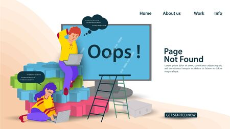 Banner Oops, 404 error page, not found Internet connection problems, Guy and girl sitting next to a monitor on gears, for websites and mobile apps, Flat vector illustration