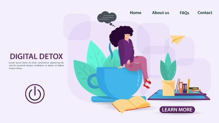 Digital detox, banner concept for web and mobile sites, a girl sitting on a mug and looking at a book on the phone there are flowers, a turn-off button, a flat vector illustration Ilustrace