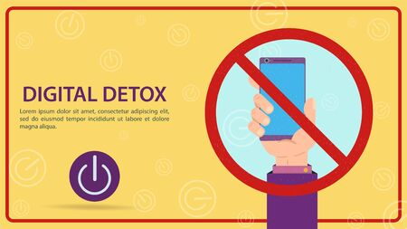 Digital detoxification, a sign prohibiting the use of a mobile smartphone, a hand holding a gadget in a crossed-out sign, flat vector illustration, banner for design