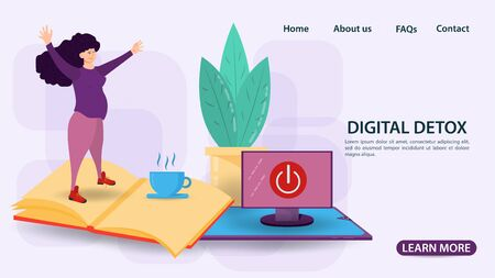 Digital detox banner concept, for web and mobile sites, Pregnant woman standing on an open book, flat vector illustration Ilustrace