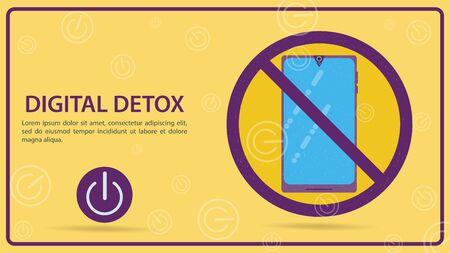 Digital detoxification, a sign prohibiting the use of a mobile smartphone, flat vector illustration, banner for design Ilustrace