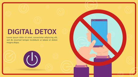 Digital detoxification, sign prohibiting the use of a mobile smartphone, hand turns off the gadget in a crossed-out sign, flat vector illustration, banner for design