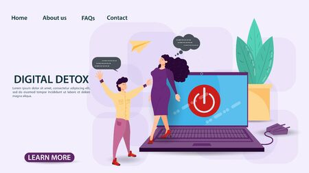 Digital detox, banner concept for web and mobile sites, Man meets woman coming out of laptop, flat vector illustration