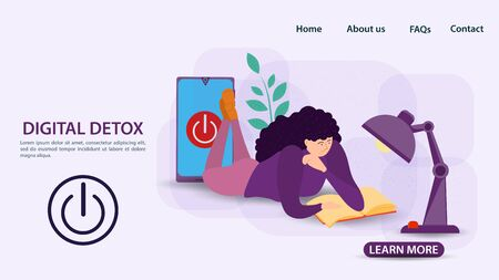 Digital detoxification, banner concept for web and mobile sites, Girl lying and reading a book under a table lamp, off button, flat vector illustration