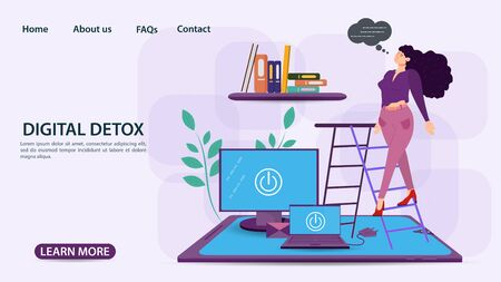 Digital detox, banner concept for web and mobile sites, Girl climbing stairs to a bookshelf, computers and phone on the floor, flat vector illustration Ilustrace