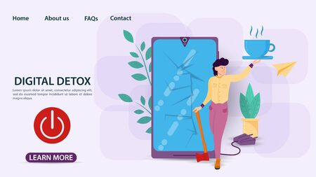 Digital detox, banner concept for web and mobile sites, a Man smashed a phone with an axe, power off button, flat vector illustration Ilustrace