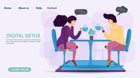 Digital detox, banner concept for web and mobile sites, a Guy and a girl sitting opposite each other with cups of tea, at a table on chairs, flat vector illustration Ilustrace