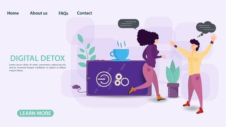 Digital detox banner concept for web and mobile sites Guy meets girl running out of phone, flat vector illustration