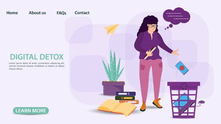 Digital detox, banner concept for web and mobile sites, Pregnant girl throws phone and laptop in the trash, flat vector illustration