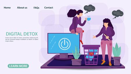 Digital detoxification, banner concept for web and mobile sites, little people Two women get rid of appliances, trash can gadgets, flat vector illustration