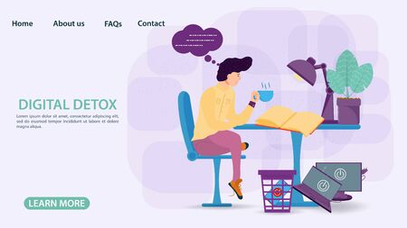 Digital detoxification, banner concept for web and mobile sites, small man man with a Cup of tea reading a book at the table in the trash gadgets, flat vector illustration