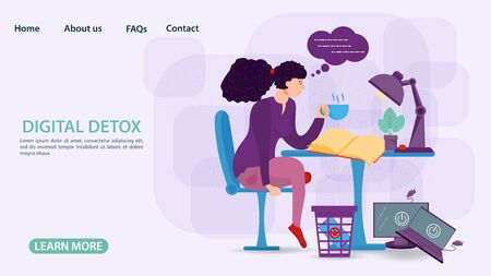 Digital detox concept, banners for web and mobile sites, little man, girl with a Cup of tea reading a book at the table, gadgets in the trash, flat vector illustration