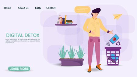 Digital detox banner concept for web and mobile sites, little man guy throws phone and laptop in the trash, flat vector illustration