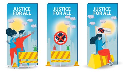 three vertical banners, isolated, social issues of racism, People men and women protest in the streets of the city, flat cartoon illustration Ilustrace
