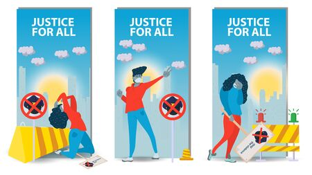 three vertical banners isolated, social issues of racism, People men and women protest, against the background of the city, flat cartoon illustration