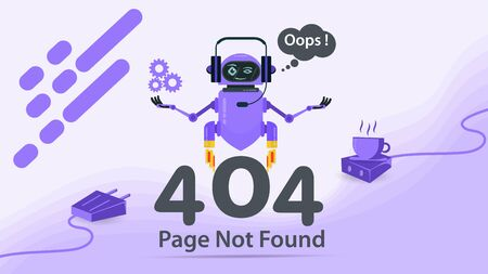 Banner, 404 error, page not found, Internet connection problems, robot levitating over numbers, hands up, for websites and mobile apps, Flat vector illustration