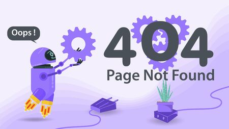 Banner, 404 error, page not found, Internet connection problems, flying robot carries a gear to the numbers, for websites and mobile apps, Flat vector illustration Ilustrace