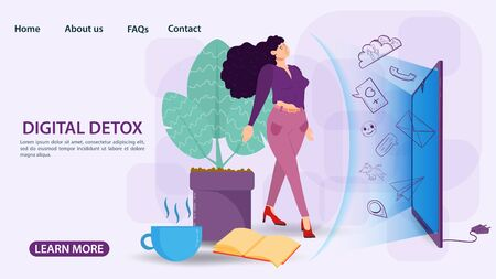 Digital detoxification, banner concept, for web and mobile sites, Woman protected by a shield, aura, from a large amount of unnecessary information, flat vector illustration Ilustrace