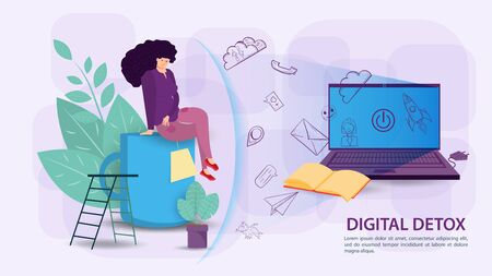 Digital detoxification, banner concept for web and mobile sites, a Woman protected by a shield, an aura, from a large amount of unnecessary information, sitting on a Cup of tea, flat vector illustration