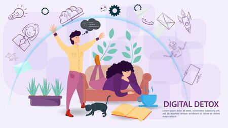 Digital detoxification, banner concept for web and mobile sites, a Man protects a girl lying on the sofa with a shield, an aura, from a large amount of unnecessary information flat vector illustration
