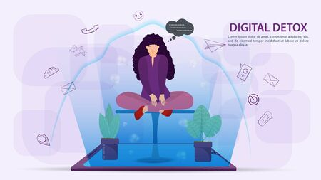 Digital detoxification, banner concept for web and mobile sites, Girl sitting in the Lotus position, protected by a shield, aura, from a large amount of unnecessary information, flat vector illustration