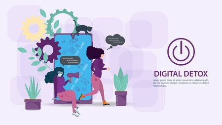 Digital detox, banner concept for web and mobile sites, a Girl running away from a mobile phone, and a large amount of unnecessary information, flat vector illustration