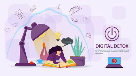 Digital detoxification, banner concept for web and mobile sites, Girl reading a book under a lamp, under the protection of aura, shield, from a large amount of unnecessary information, flat vector illustration