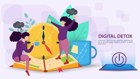 Digital detox, banner concept for web and mobile sites, Two girls, one pregnant, communicate live with each other, flat vector illustration
