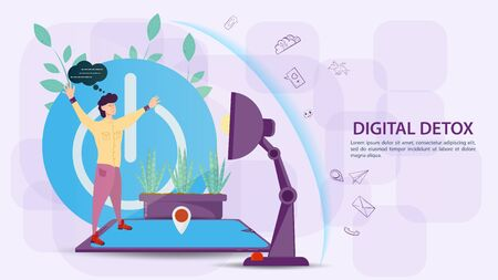 Digital detox, banner concept for web and mobile sites, a Guy stands on the phone, against the background of a large power off button, flat vector illustration