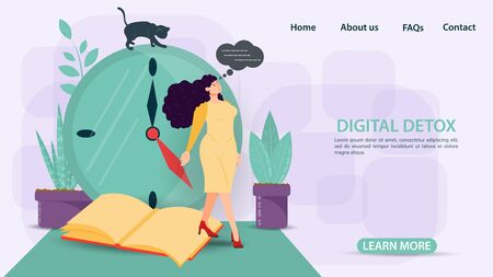 Digital detox, banner concept for web and mobile sites, a Girl in a yellow dress stands on a book against a clock, flat vector illustration