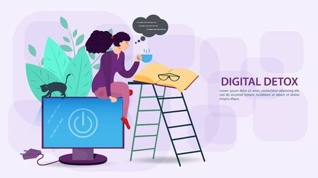 Digital detoxification, banner concept for web and mobile sites, a Girl reading a book sitting on a computer monitor, flat vector illustration