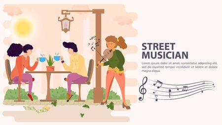 Banner, street musician, Girl playing the violin for a couple who are sitting at a table and drinking a drink of tea, flat vector illustration cartoon