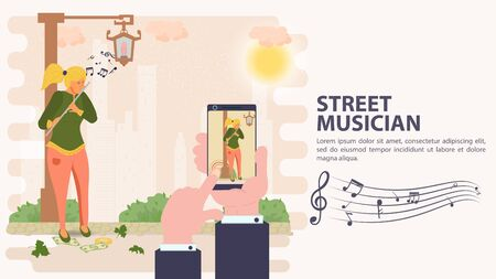 Banner, street musician, Shoot a girl playing a flute on a mobile phone, flat vector illustration cartoon