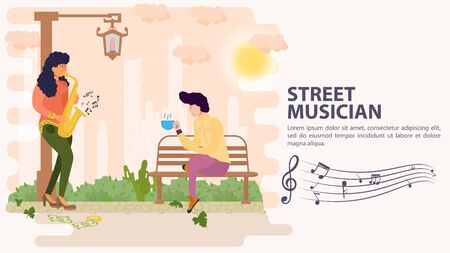 Banner, street musician, Girl playing saxophone for a guy sitting on a bench, flat vector illustration cartoon