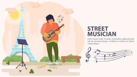 Banner, street musician, man playing guitar on the background of a tower, flat vector illustration cartoon Ilustrace