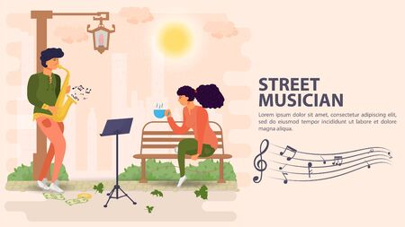 Banner, street musician, man playing saxophone for a girl sitting on a bench, flat vector illustration cartoon