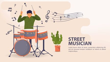 Banner, street musician, Man playing drums and cymbals, musical notes, flat vector illustration cartoon