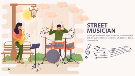 Banner, street musician, Man playing drums and woman playing saxophone, flat vector illustration cartoon