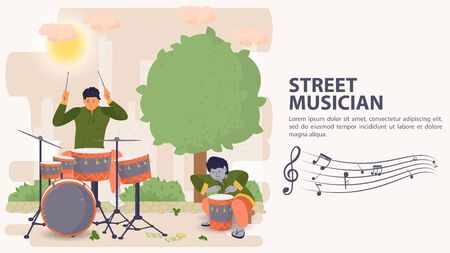 Banner, street musician, Two men playing musical instruments percussion and drum, flat vector illustration cartoon