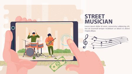 Banner, street musician, Filmed on a mobile phone two men playing drums and guitar, flat vector illustration cartoon